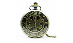 Bronze Technical Medical Emergency Quartz Pocket Watch Necklace