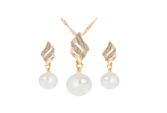 New Crystal Gold Color Big Simulated Pearl Jewlery Set