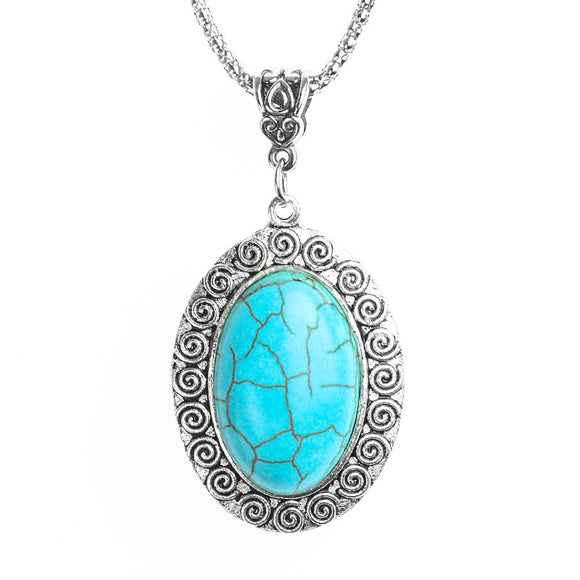 New Blue Natural Turquoise Silver Pendant Necklace