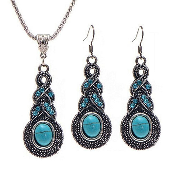 New Stylish Tibetan Blue Crystal Jewelry Set
