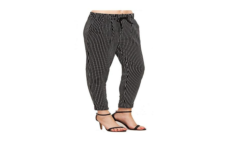 Vertical Pinstriped Tapered Women's Leg Pants