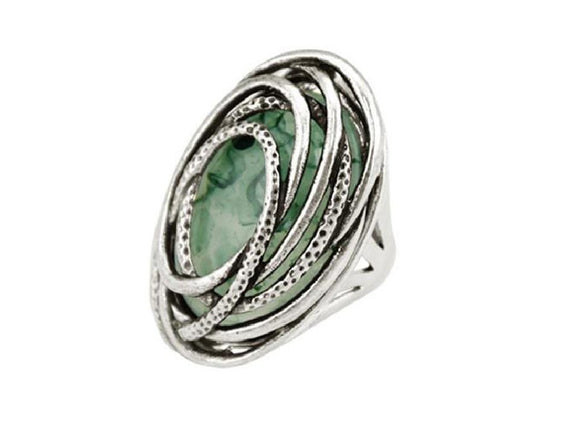 Women Antique Silver Color Resin Statement Rings