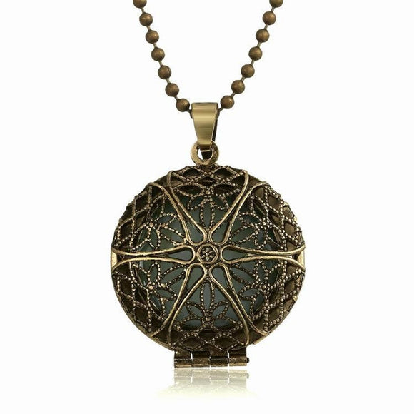 New Antique Bronze Glow In The Dark Locket Pendant Necklace
