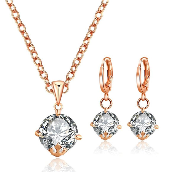 New Trendy Gold Color Cubic Zirconia Crystal Jewelry Set