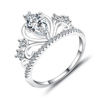 New Women Hollow Queen Crown Rhinestone Silver Plated Ring