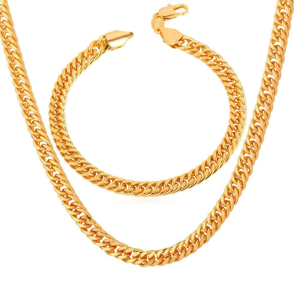 New Trendy Cuban Link Chain Necklace Bracelet