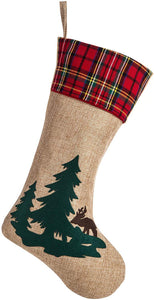 New Beautiful Christmas Tartan Cuff Candy Bag Toy Socks