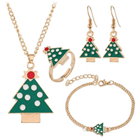 Christmas Tree Elk Necklace Bracelet Earrings and Ring Set