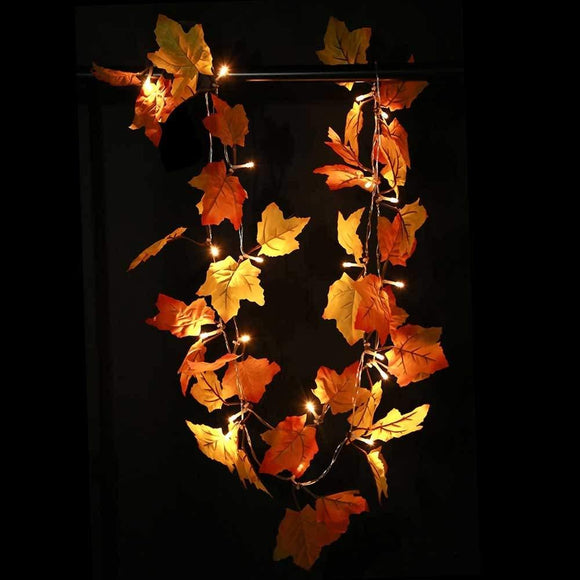 Thanksgiving Decorations Lighted Fall Garland, Thanksgiving Decor String Lights