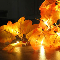 Thanksgiving Decorations Lighted Fall Garland, Thanksgiving Decor for Indoor Outdoor Home, Christmas Decorations Party, Maple Leaf String Lights - sparklingselections