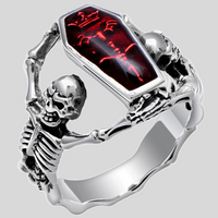 Red Crystal Coffin Skull Unisex Ring