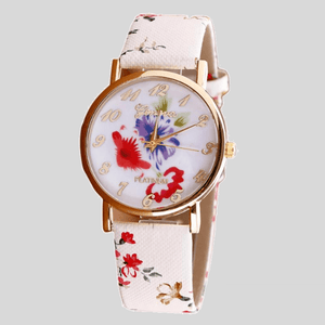 New Flower Printed Women Leather Metal Watch