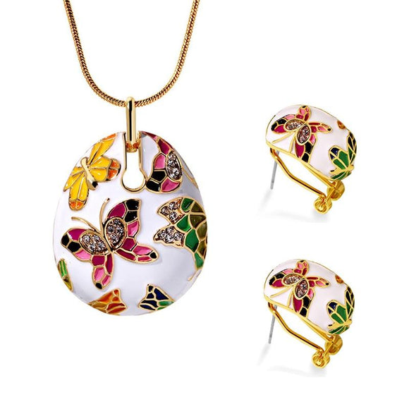 New Ethnic Style Enamel Colorful Butterfly Crystal Jewelry Set