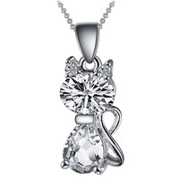 Animal Shape Zinc Silver Austrian Crystal Cubic Zirconia Cat Pendant Necklace For Women Fashion Engagement Wedding Dress Matching Necklace Jewelry