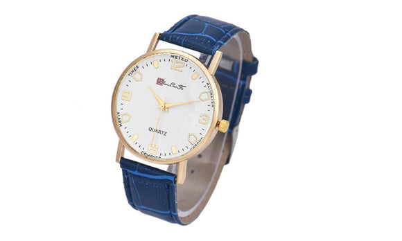 Leather Band Analog Luxury Clock Quartz Wrist Watch for Men