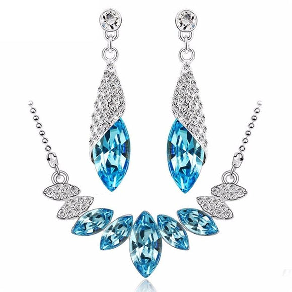 New Crystal Silver Color Water Drop Jewelry Sets