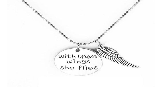 'With Brave Wings She Flies ' Hand Stamped Necklace For Women