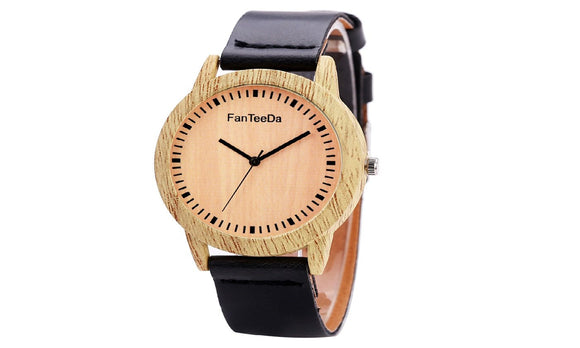 Women Simple Wooden Texture Round Wrist Watch