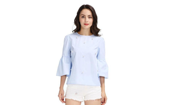 Elegant Pearls Beading Flare Sleeve Shirt For Women