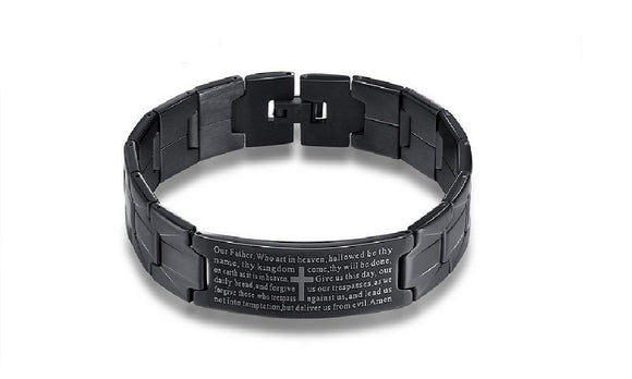 Bangles Cross Bible Black Stainless Steel Men's Bracelet