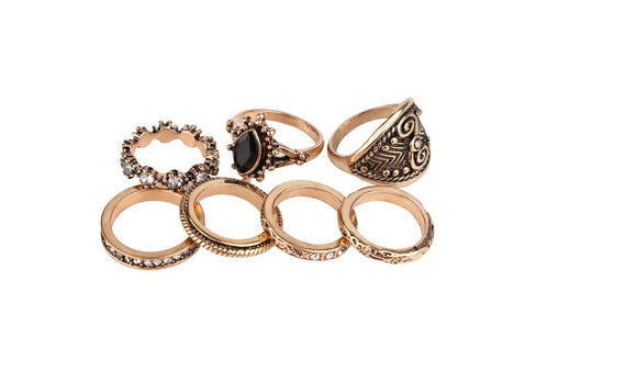 Antique Gold-Color Resin Finger Rings for Women