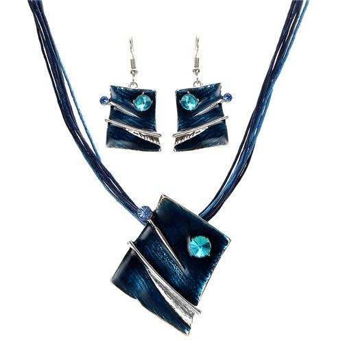 New Stylish Multilayer Leather Chain Square Jewelry Set