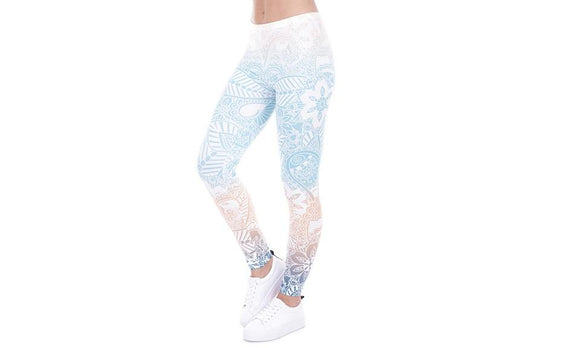 Mandala Mint Print Fitness High Elasticity Leggings for Women