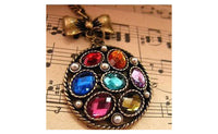 Jewelry Vintage Bronze Colorful Diamond Crystals Necklace & Pendants
