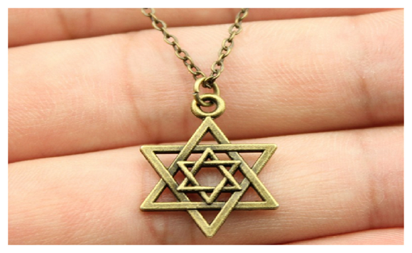 Antique Bronze Plated Star of David Pendant Necklace
