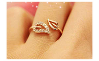 Rhinestones Leaves Opening Cuff Couple Lover Ring For Women(Resizable)
