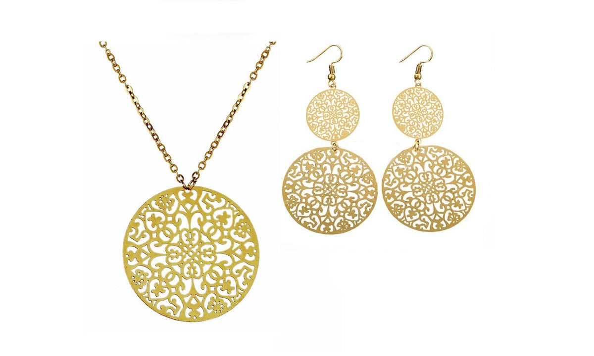 Round Pattern Pendant Necklace Earrings Jewelry Set