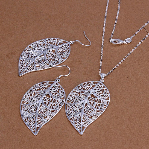 Silver Plated Leaf Jewelry Set For Women