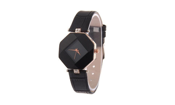Rhombic Faux Leather Strap Analog Quartz Wrist Watch
