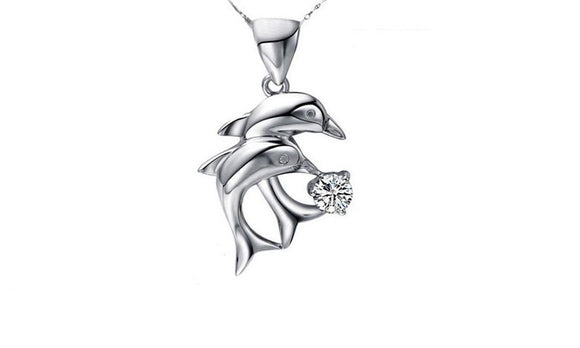 Love Double Dolphins Pendant Necklace antique