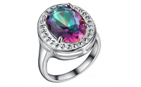 Silver Plated Colorful Crystal Fashion Ring For Women-7