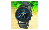 Men's Casual Sports Stainless Steel Silicone Band Quartz Analog Wrist