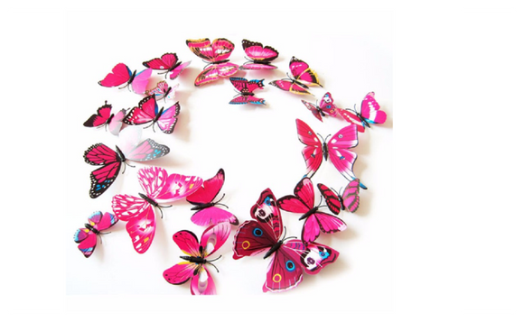 3D PVC Magnet Butterflies Wall Stickers 12 Pieces