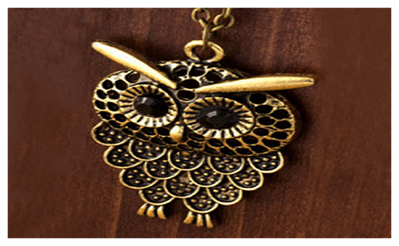 Antique Gold Plated Owl Pendant Necklace Long Chain Jewelry for Women