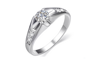 White Gold Plated Mounting 0.5 ct Cubic Zirconia Wedding Ring