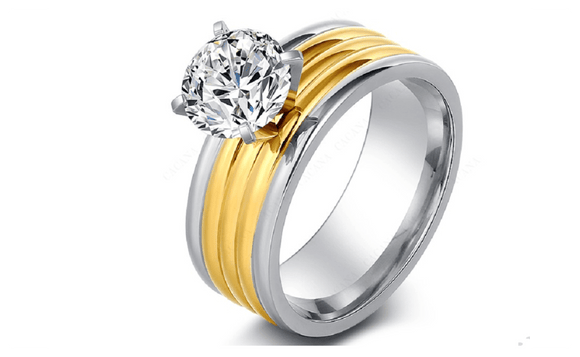 18K Gold Plated Cubic Zirconia Engagement Ring