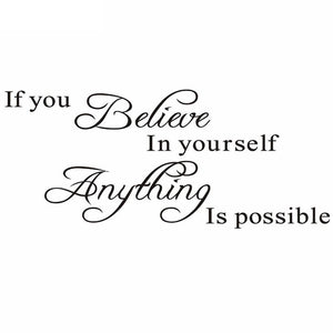 "New Fashion ""Believe in Yourself"" Home Decor Creative Quote Wall  Sticker"
