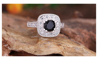 JEXXI Classic Square Clear White Rhinestone With Black Stone Ring(7)