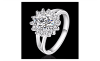 Silver Plated Color With Sunflower Shaped Inlay CZ Engagement Ring (Size-7,8) - sparklingselections