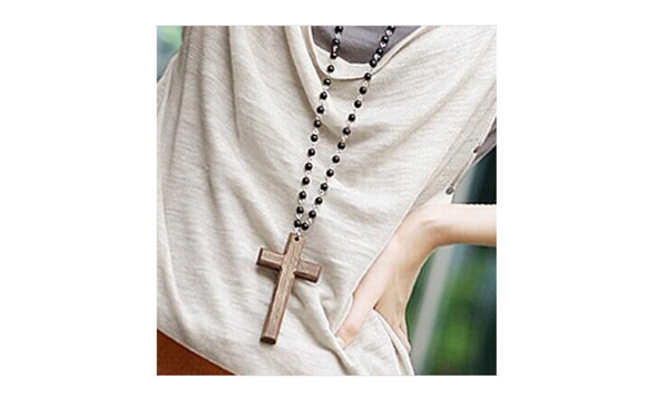 Black Beads Wooden Cross Necklace