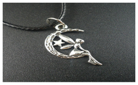 "Vintage ""Angel on Moon"" Alloy Leather Pendant Necklace"