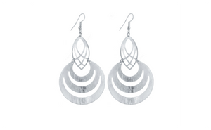 Silver Plated Hollow Fashion Dangle Long Earrings For Women