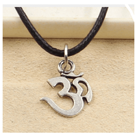 Silver Om Yoga Necklace Choker Charm Black Leather Handmade Fashion Women or or Men Jewelry - sparklingselections