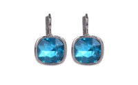 Silver Plated Broncos Blue Earrings For Women