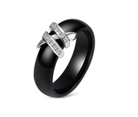 New Simple Style Two Line Crystal Ziron Ceramic Rings For Women