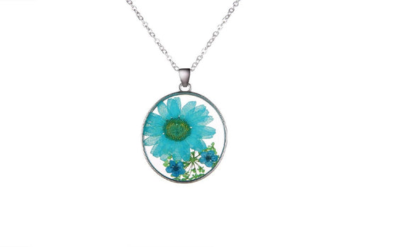 Natural Real Blue Decorative Dried Flowers Pendant
